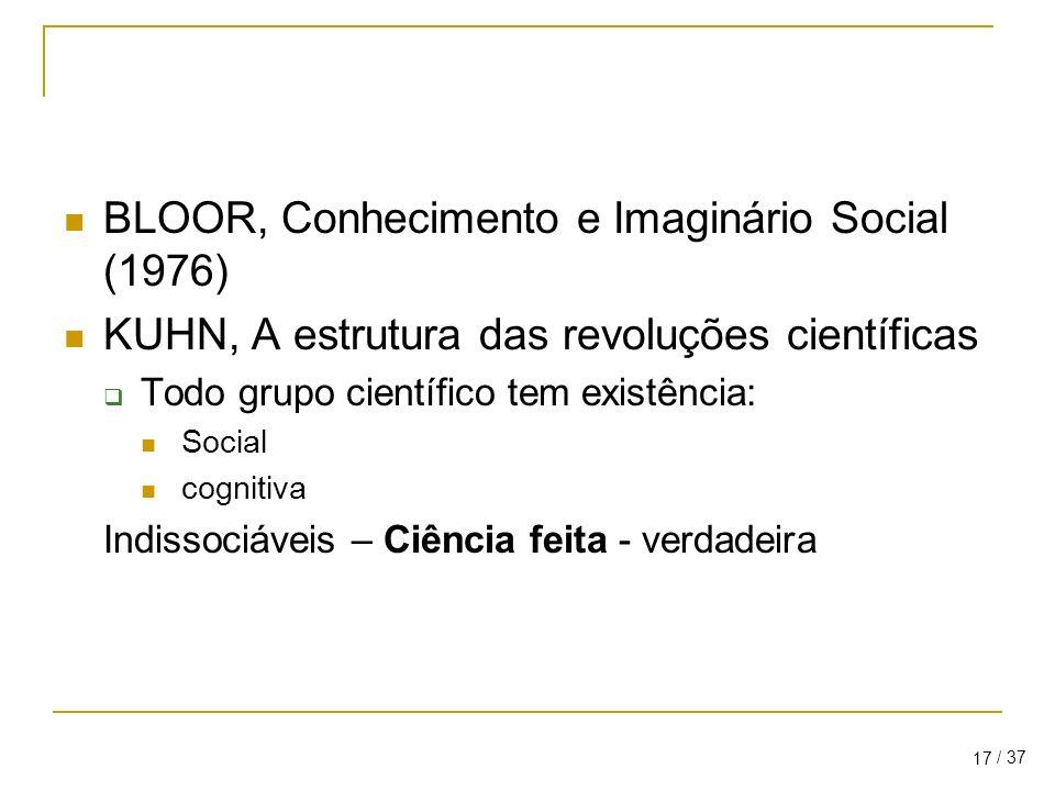 BLOOR, Conhecimento e Imaginário Social (1976)