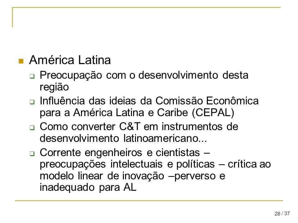 América Latina Preocupação com o desenvolvimento desta região