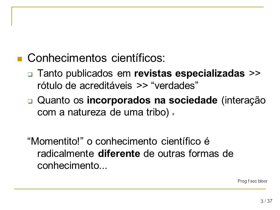 Conhecimentos científicos: