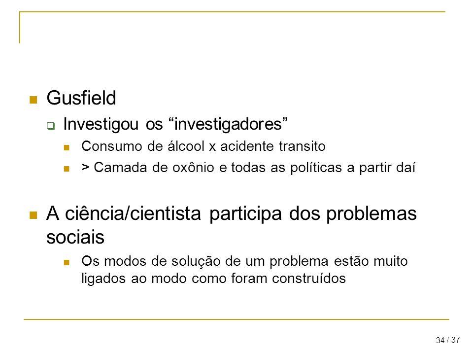 A ciência/cientista participa dos problemas sociais