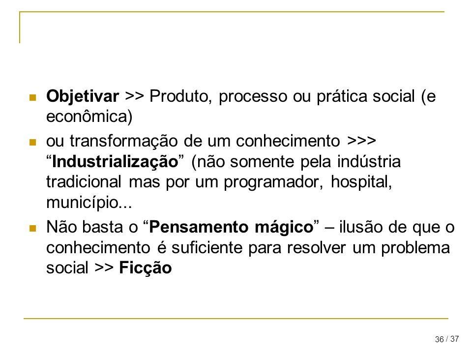 Objetivar >> Produto, processo ou prática social (e econômica)