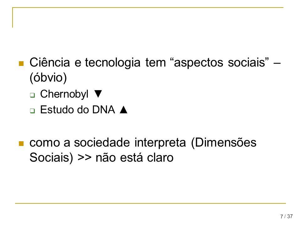 Ciência e tecnologia tem aspectos sociais – (óbvio)