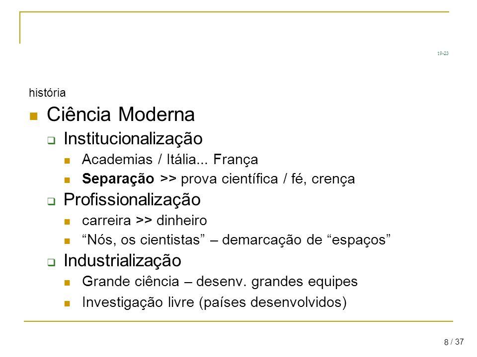 19-23 Ciência Moderna Institucionalização Profissionalização