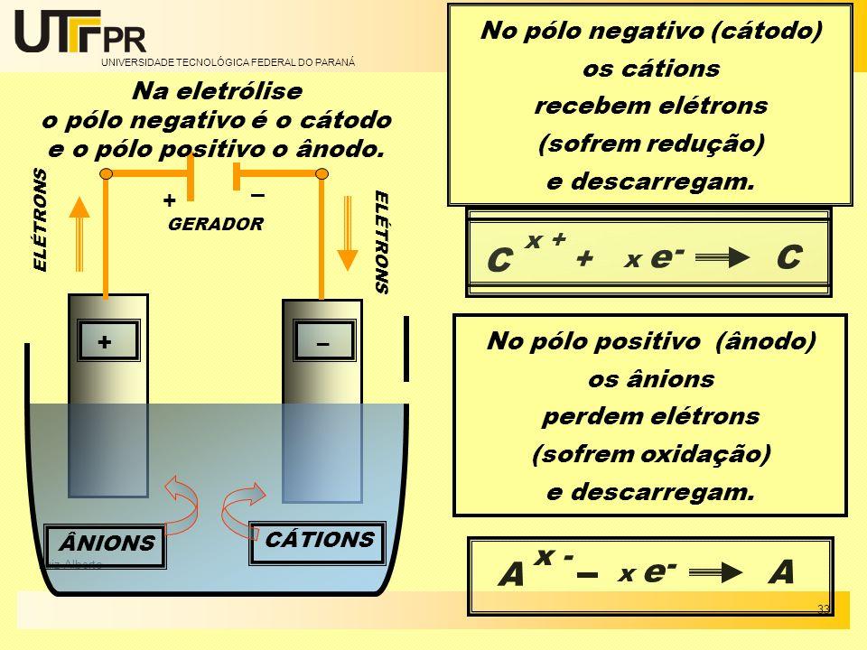 C C A A - + x - - No pólo negativo (cátodo) os cátions