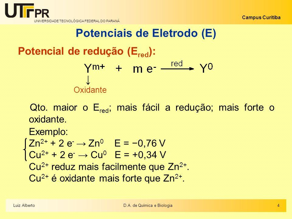 Potenciais de Eletrodo (E)