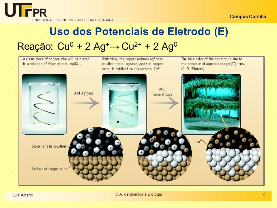 Uso dos Potenciais de Eletrodo (E)