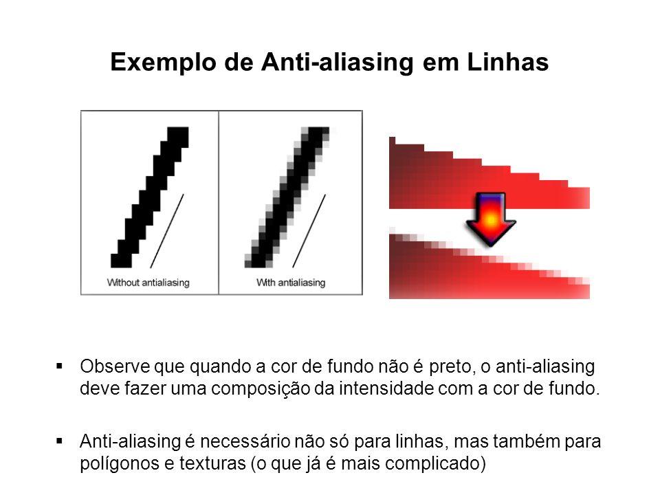 Exemplo de Anti-aliasing em Linhas