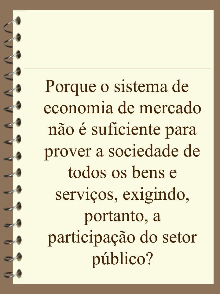 Porque o sistema de economia de mercado não é suficiente para prover a sociedade de todos os bens e serviços, exigindo, portanto, a participação do setor público
