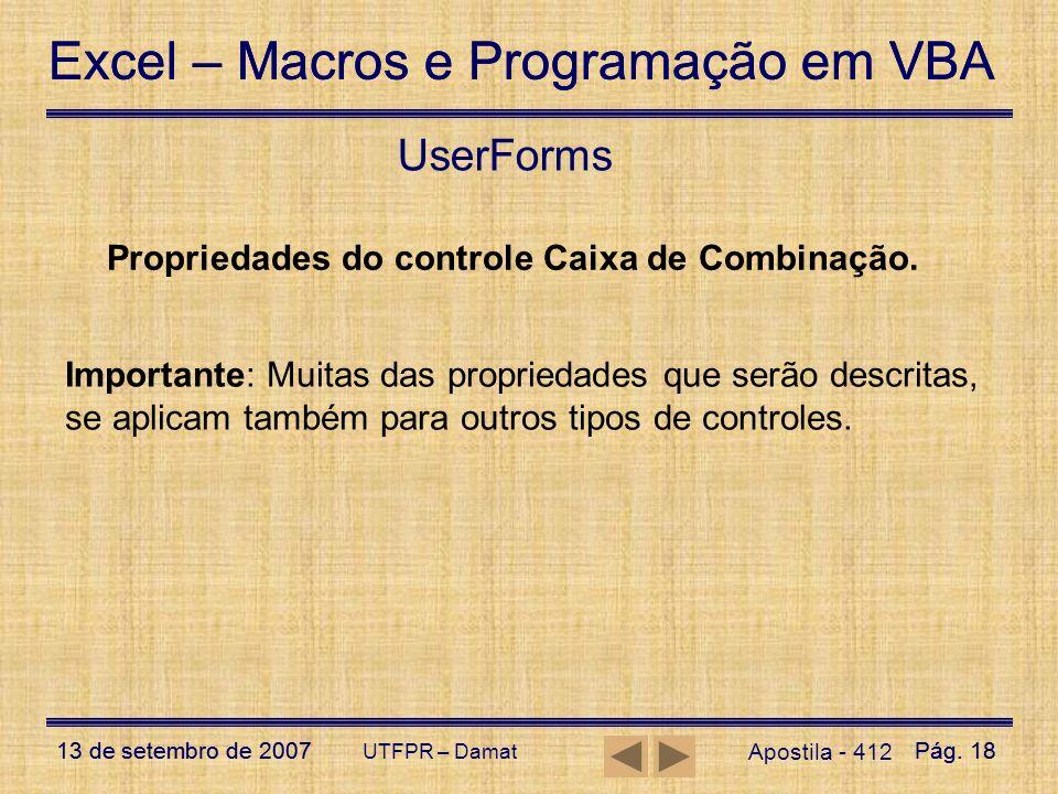 UserForms Propriedades do controle Caixa de Combinação.