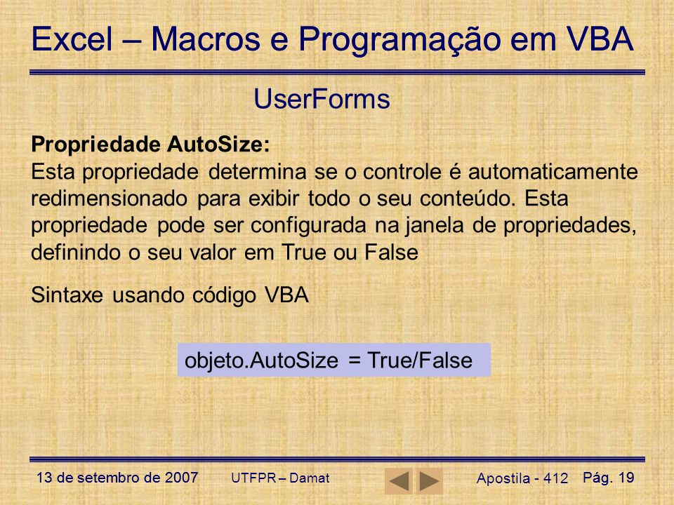 UserForms Propriedade AutoSize: