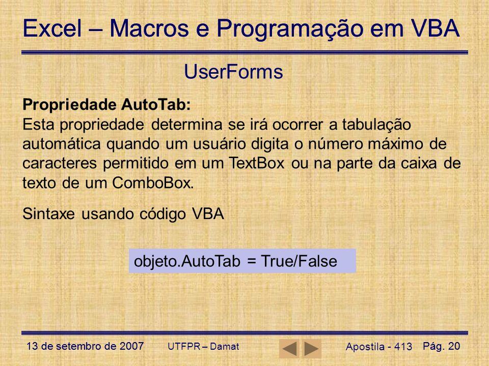 UserForms Propriedade AutoTab: