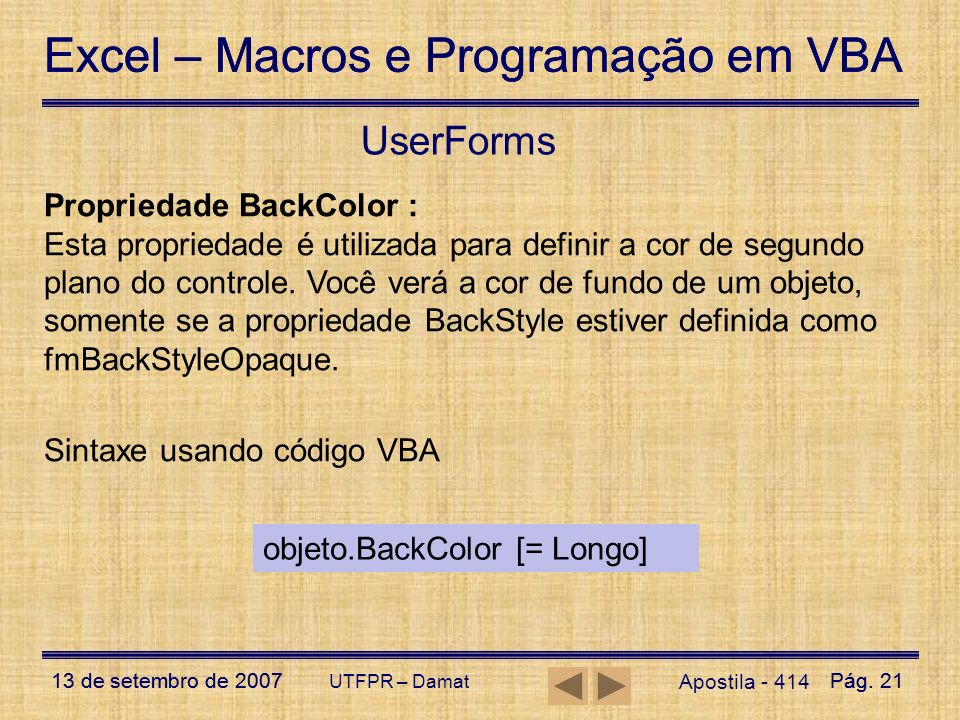 UserForms Propriedade BackColor :