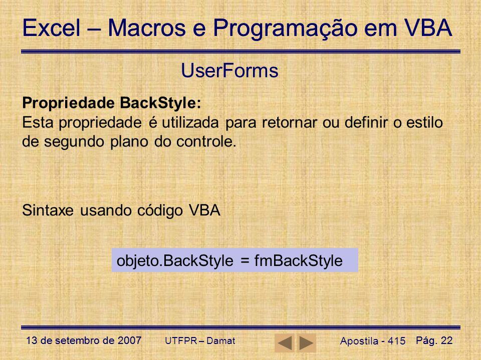 UserForms Propriedade BackStyle: