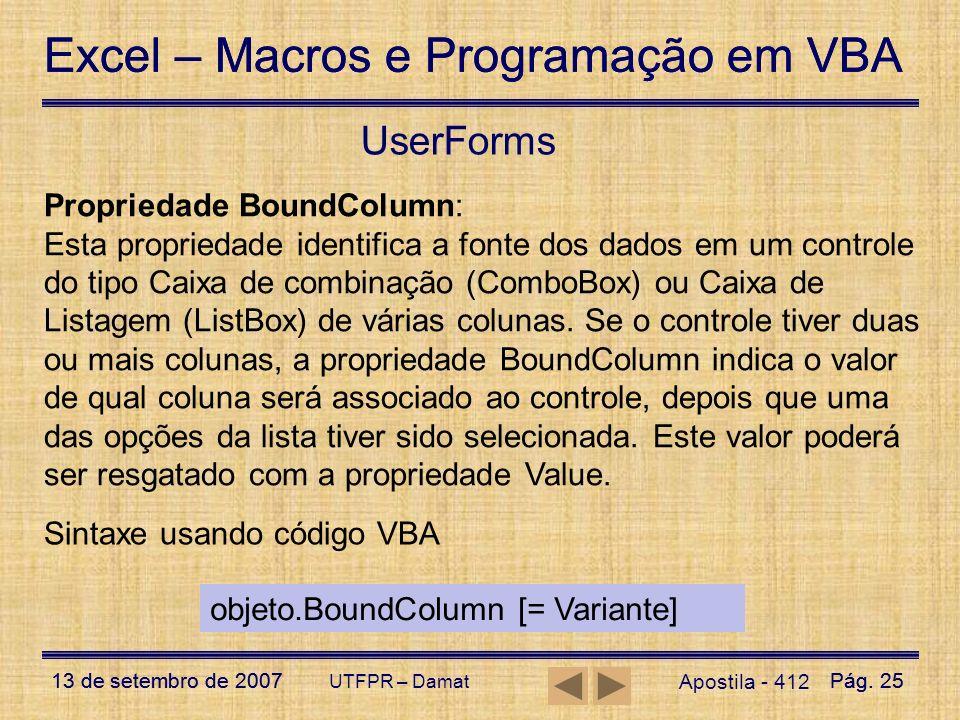 UserForms Propriedade BoundColumn: