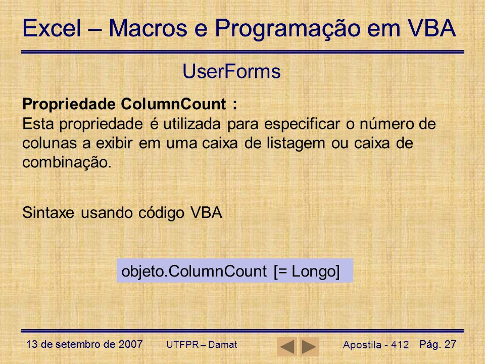 UserForms Propriedade ColumnCount :