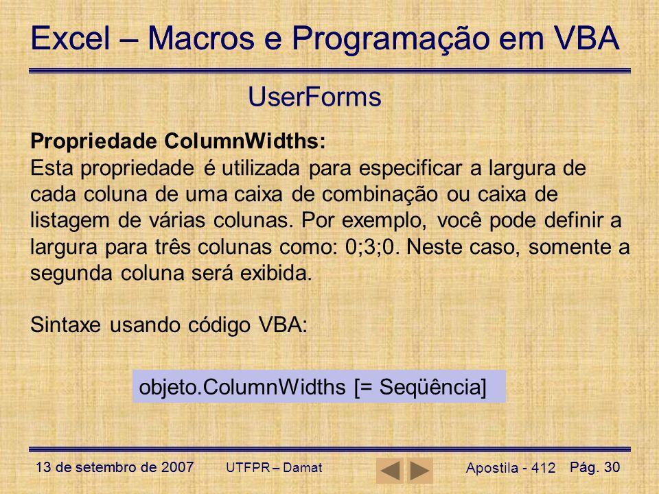 UserForms Propriedade ColumnWidths: