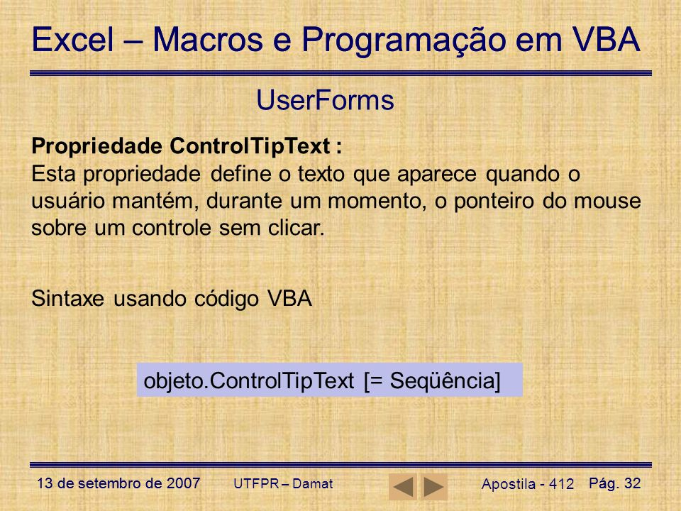 UserForms Propriedade ControlTipText :