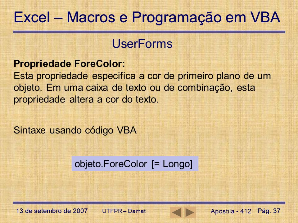 UserForms Propriedade ForeColor: