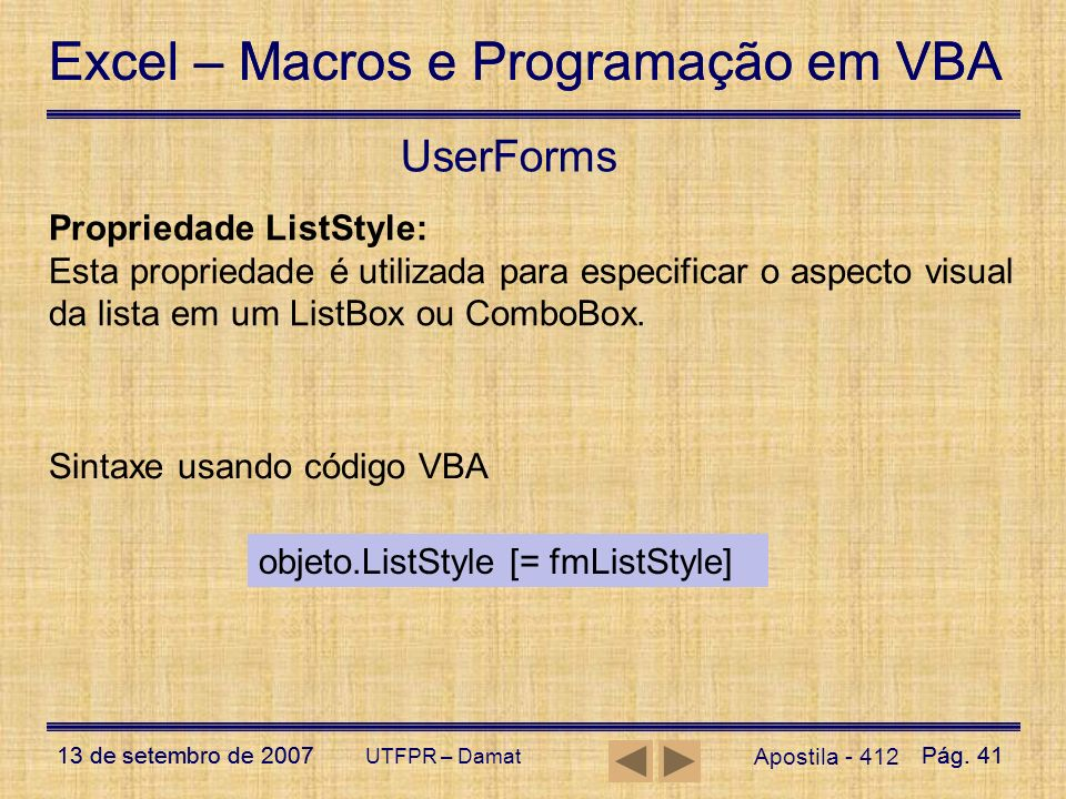 UserForms Propriedade ListStyle:
