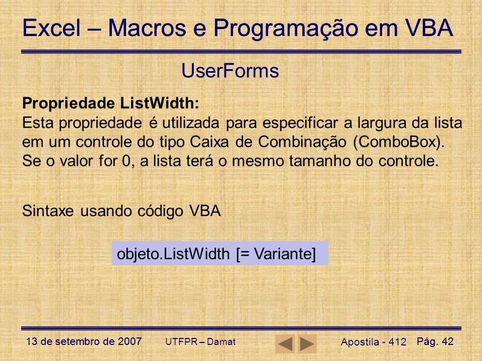 UserForms Propriedade ListWidth: