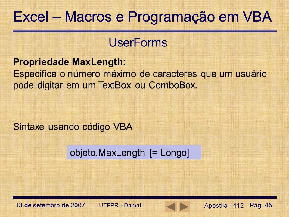 UserForms Propriedade MaxLength: