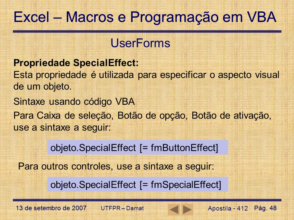 UserForms Propriedade SpecialEffect: