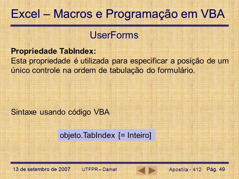 UserForms Propriedade TabIndex: