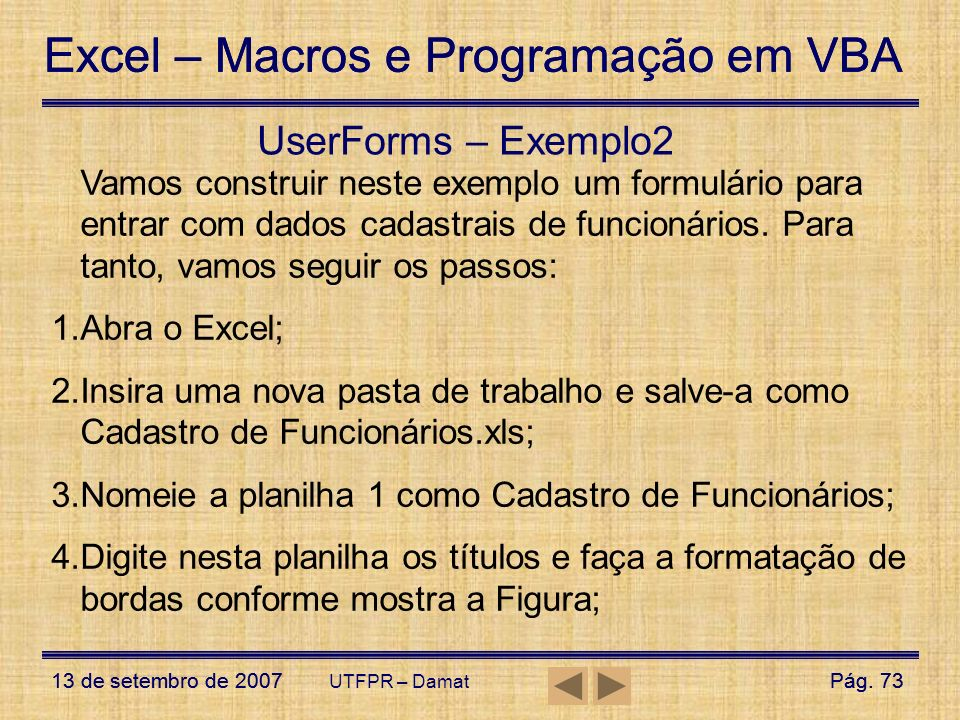 UserForms – Exemplo2