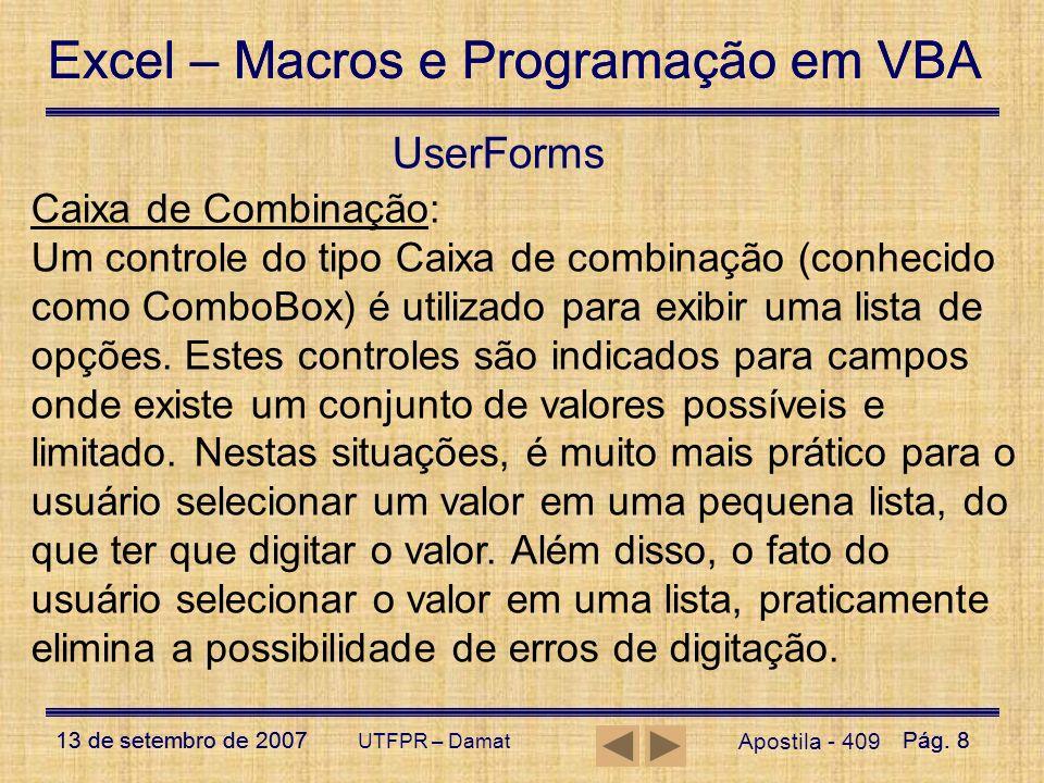 UserForms Caixa de Combinação: