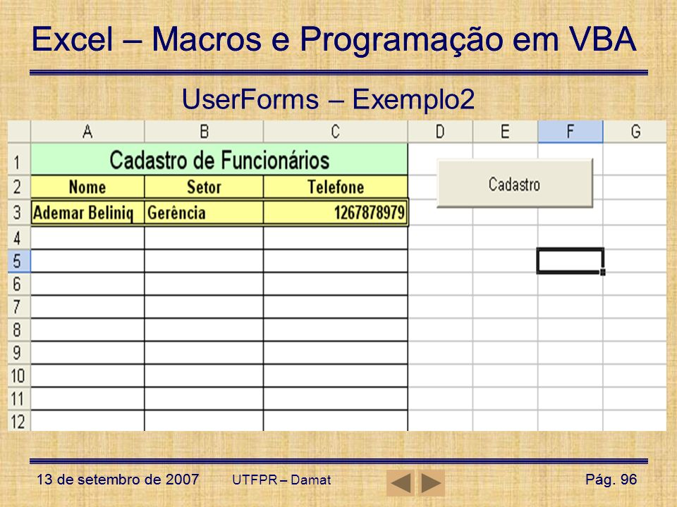UserForms – Exemplo2 UTFPR – Damat