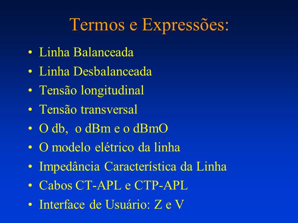 Termos e Expressões: Linha Balanceada Linha Desbalanceada