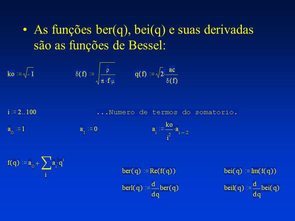 As funções ber(q), bei(q) e suas derivadas são as funções de Bessel:
