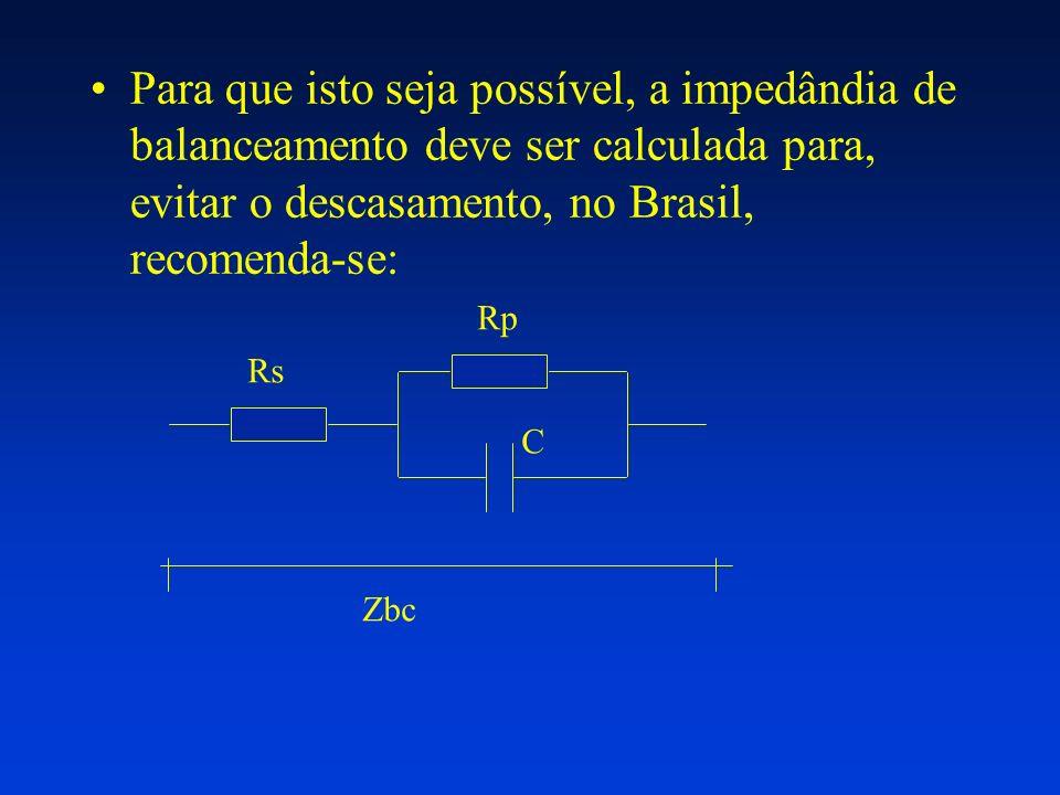 Para que isto seja possível, a impedândia de balanceamento deve ser calculada para, evitar o descasamento, no Brasil, recomenda-se: