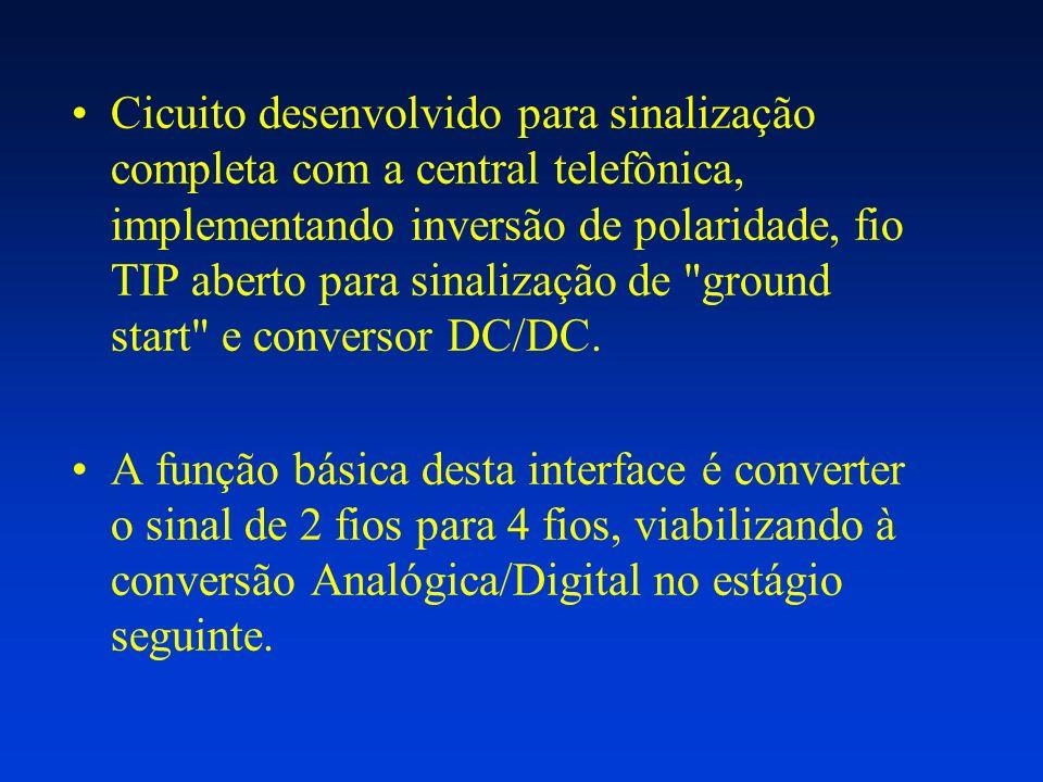 Cicuito desenvolvido para sinalização completa com a central telefônica, implementando inversão de polaridade, fio TIP aberto para sinalização de ground start e conversor DC/DC.