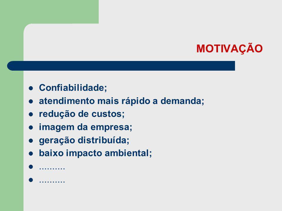 MOTIVAÇÃO Confiabilidade; atendimento mais rápido a demanda;