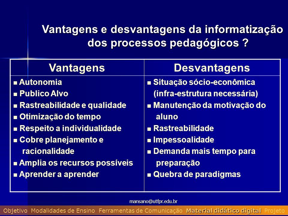 Vantagens e desvantagens da informatização dos processos pedagógicos