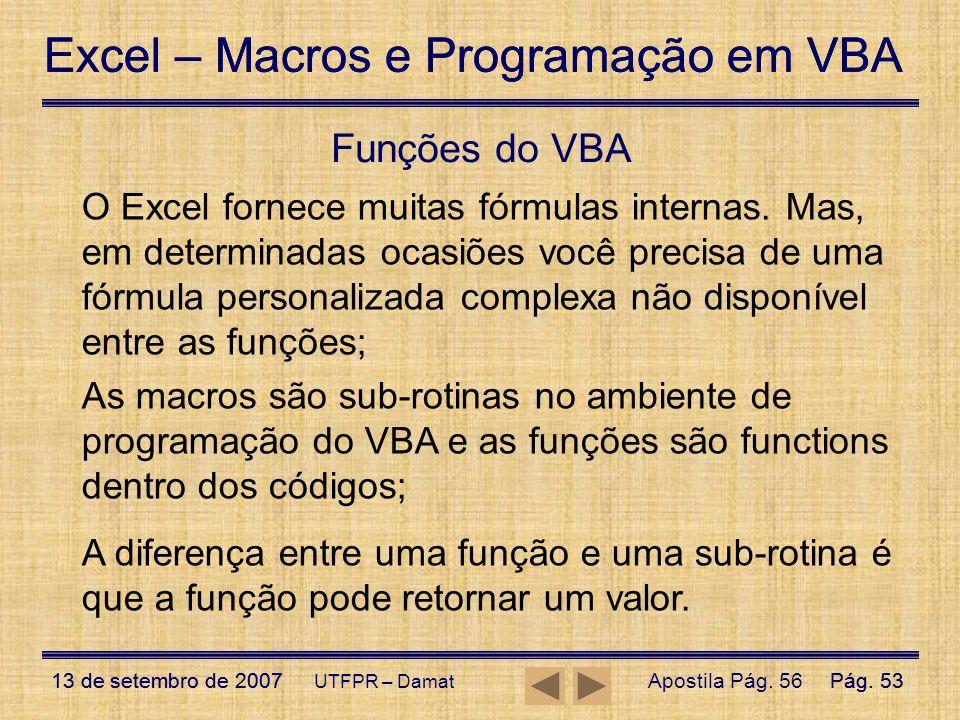 Funções do VBA