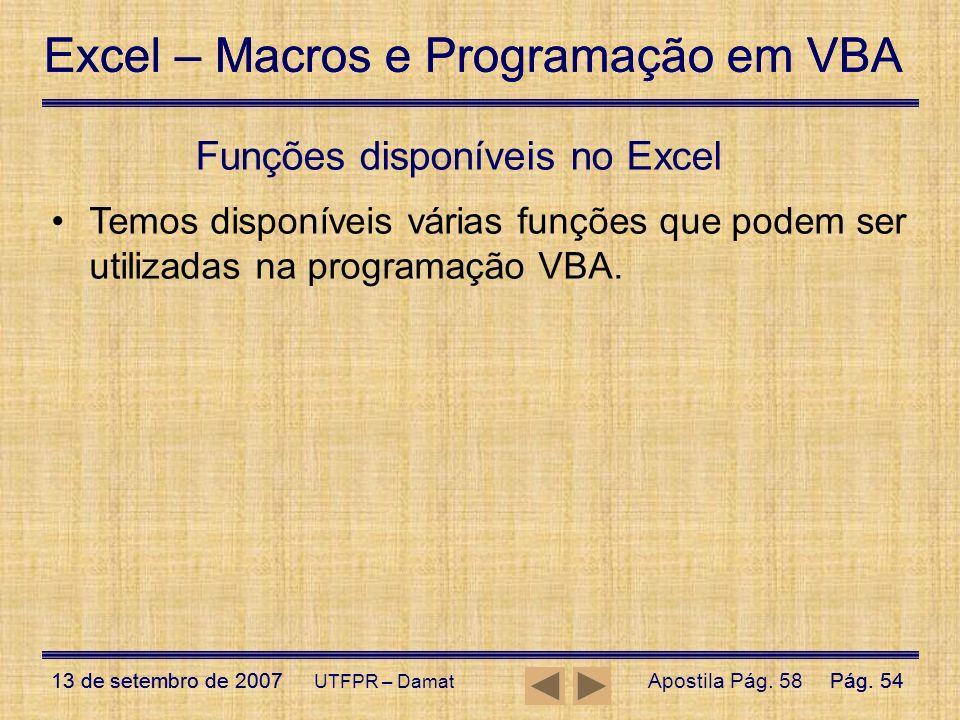 Funções disponíveis no Excel