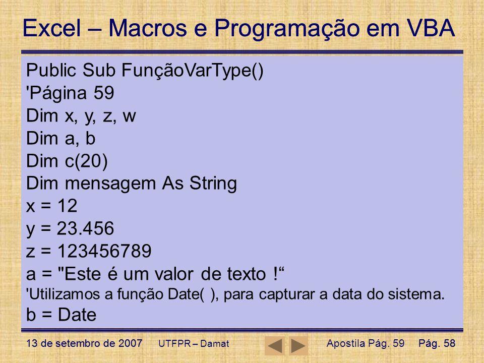 Exemplo da Função VarType