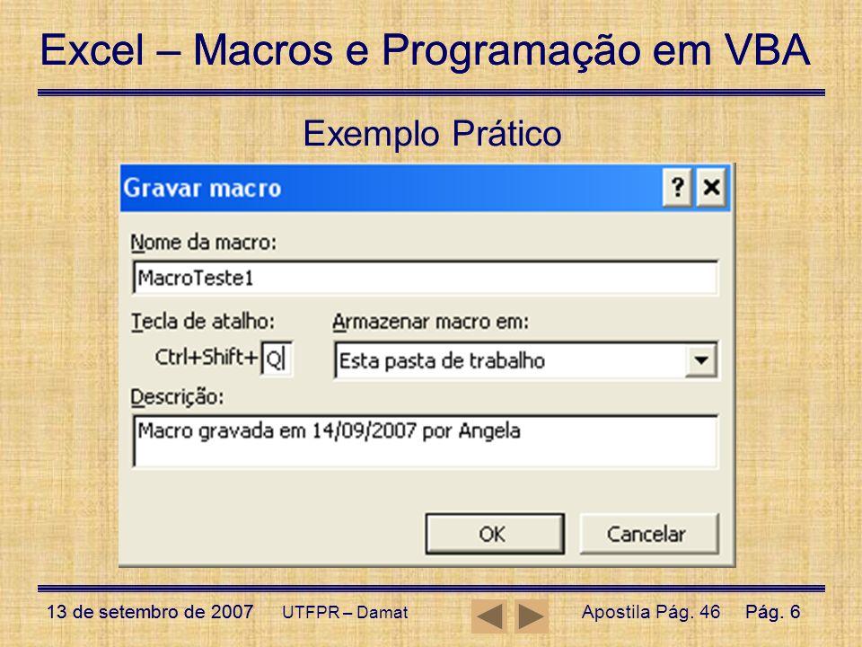 Exemplo Prático UTFPR – Damat Apostila Pág. 46
