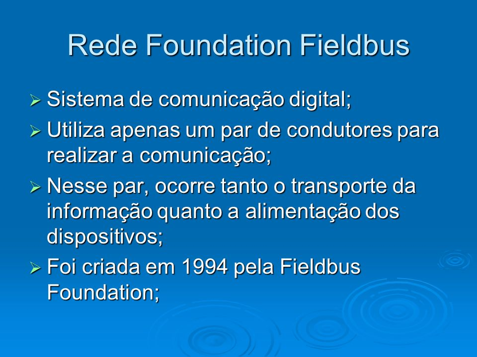 Rede Foundation Fieldbus