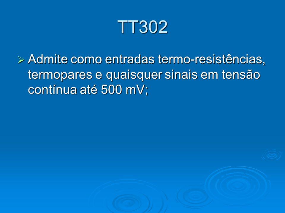 TT302 Admite como entradas termo-resistências, termopares e quaisquer sinais em tensão contínua até 500 mV;
