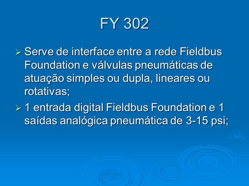 FY 302 Serve de interface entre a rede Fieldbus Foundation e válvulas pneumáticas de atuação simples ou dupla, lineares ou rotativas;