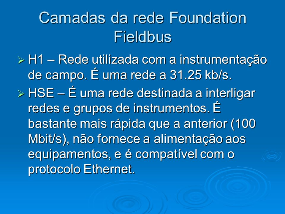Camadas da rede Foundation Fieldbus