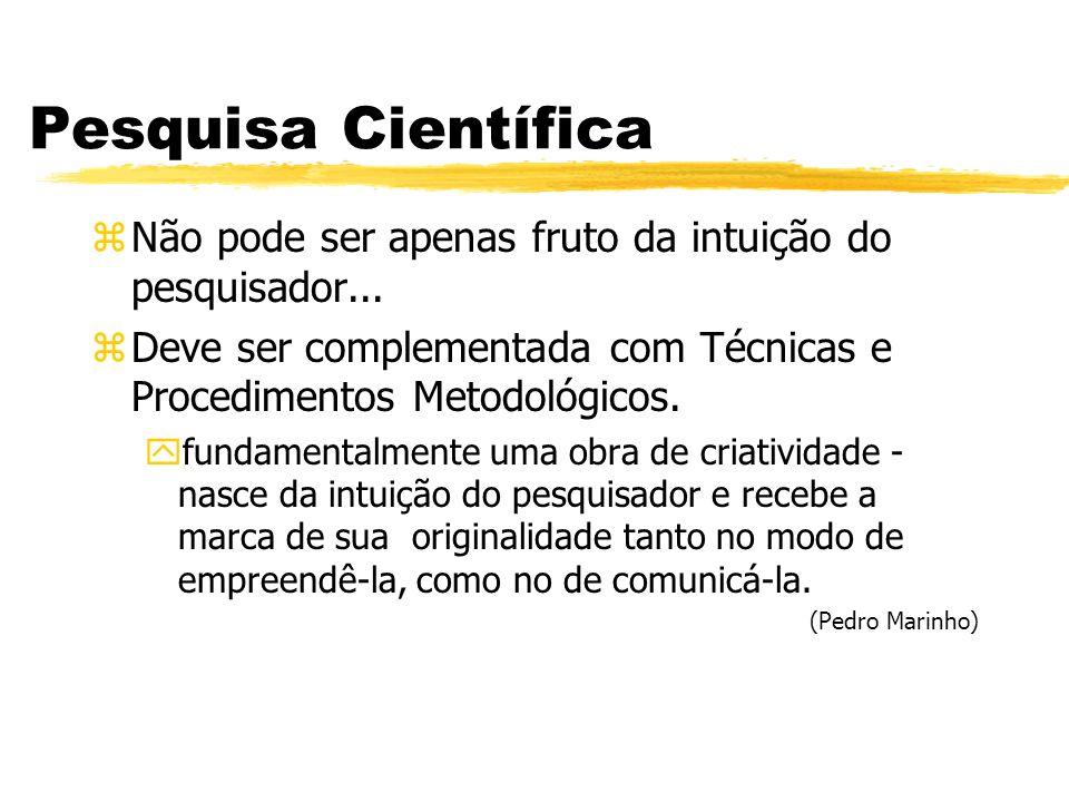 Pesquisa Científica Não pode ser apenas fruto da intuição do pesquisador... Deve ser complementada com Técnicas e Procedimentos Metodológicos.