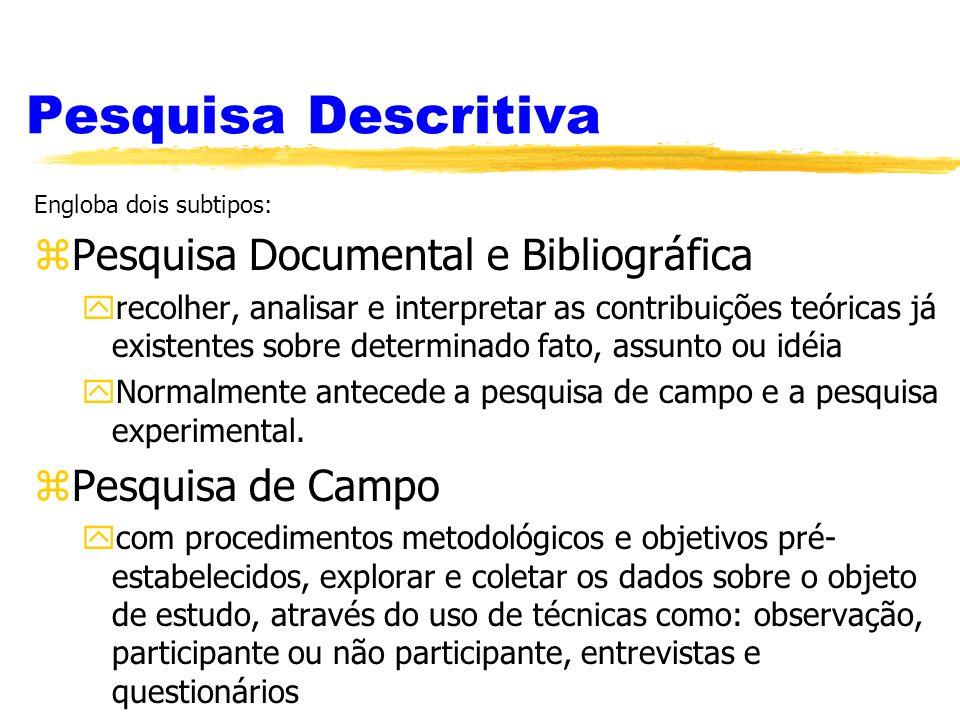 Pesquisa Descritiva Pesquisa Documental e Bibliográfica