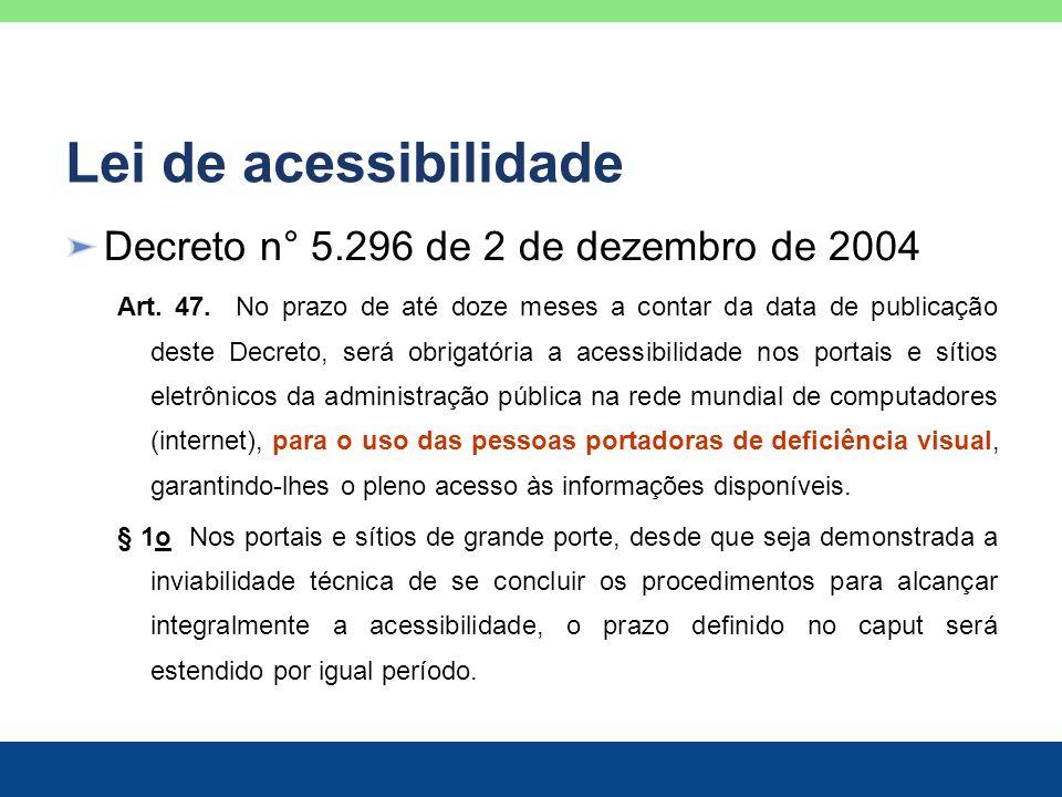 Lei de acessibilidade Decreto n° 5.296 de 2 de dezembro de 2004