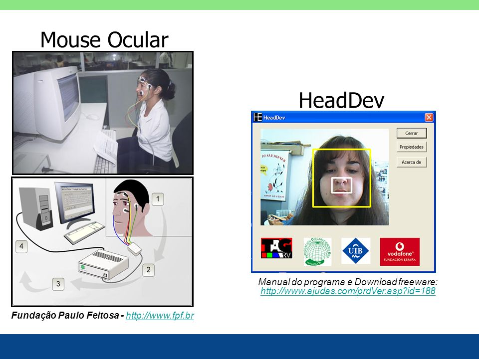 Mouse Ocular HeadDev. Manual do programa e Download freeware: http://www.ajudas.com/prdVer.asp id=188.