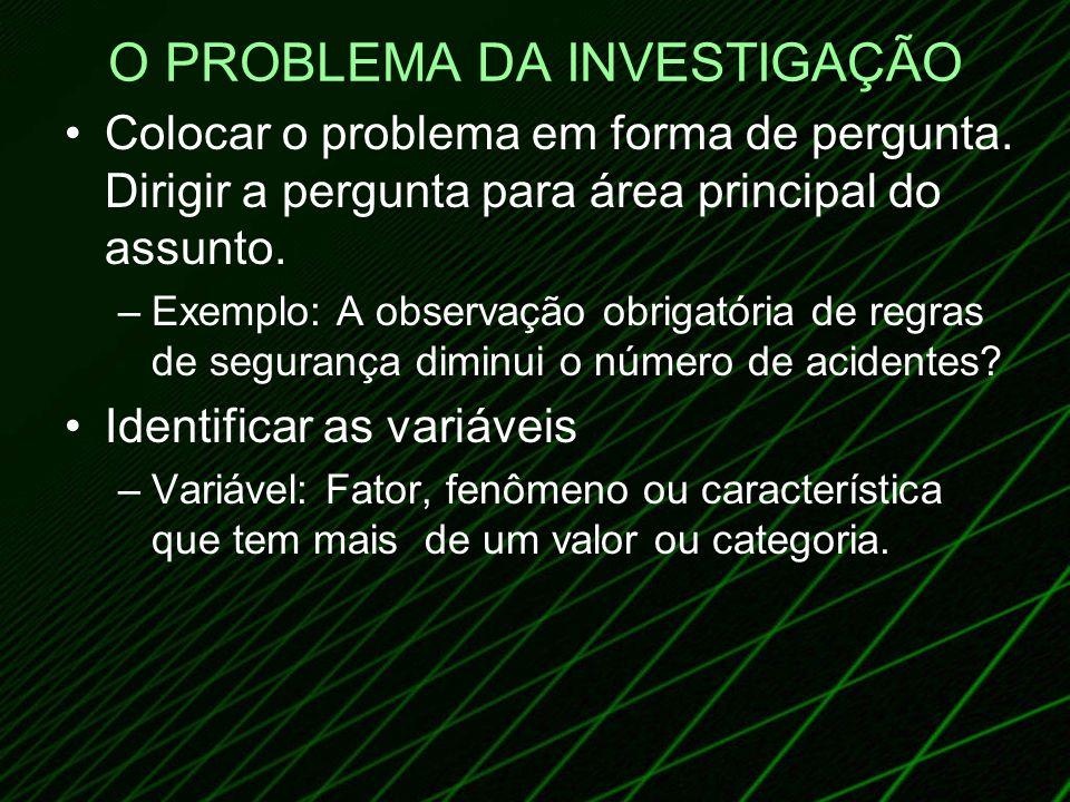 O PROBLEMA DA INVESTIGAÇÃO