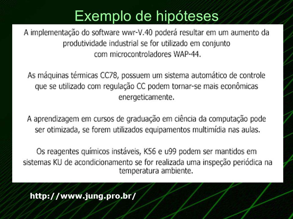 Exemplo de hipóteses http://www.jung.pro.br/